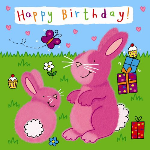 Childrens Birthday Card - Bunnies
